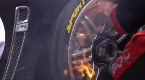 A close-up look at the fire underneath Ash Walsh and Tim Slade's No. 14 Holden Commodore on pit lane Sunday during the Bathurst 1000. (VASC Media photo)